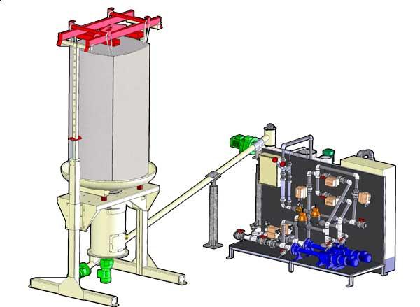 Unité de préparation de lait de chaux depuis stand de vidange Big Bag