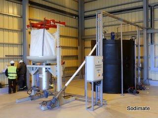 Station de vidange Big Bag pour dosage de sulfate d'alumine