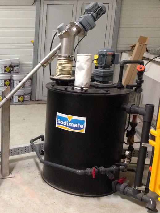 Détail cuve de préparation de permanganate de potassium