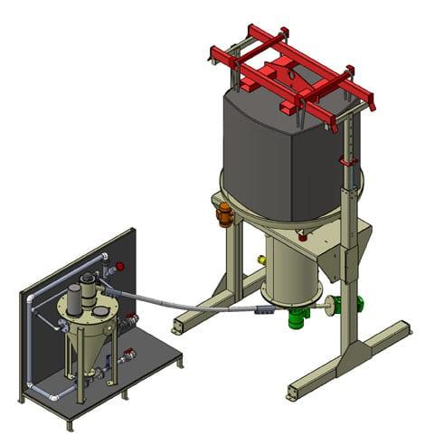 Alimentation d'un hydro éjecteur à partir d'une station de vidange de Big Bag