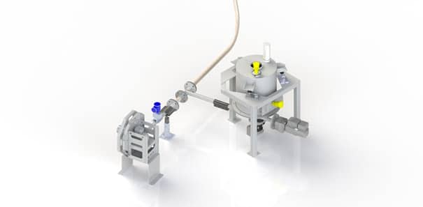 Gravimetric feeder to feed into a pneumatic conveyor