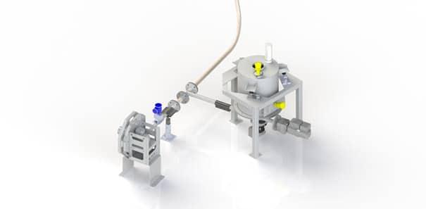 Gravimetric feeder to feed into a pneumatic conveyor