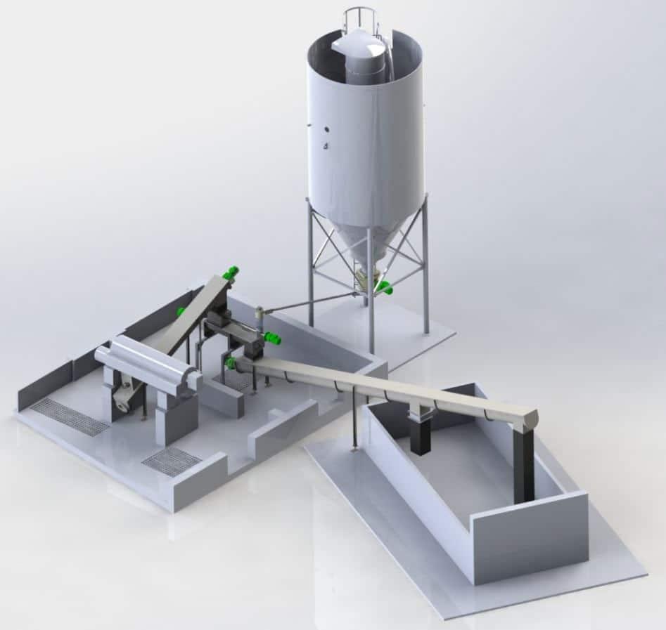 Quicklime silo feeding a sludge mixer post centrifuge